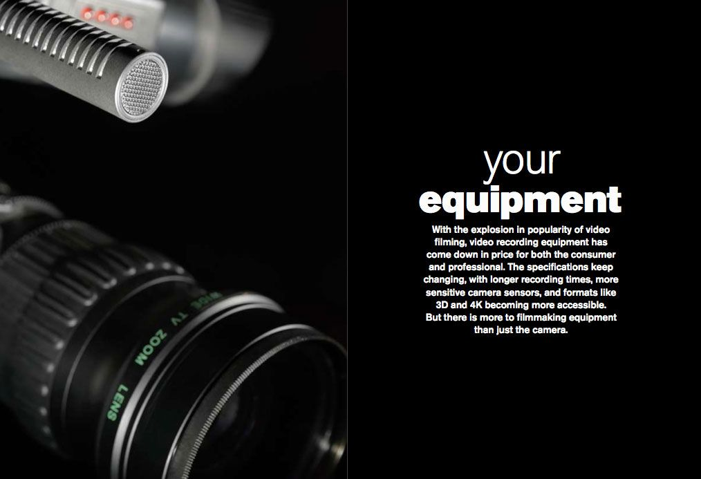Sectional header page for Your Equipment from the Digital Filmmaking handbook
