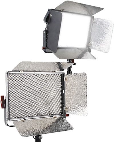 3 Piece LED lighting kit with 2x LED panels & Dedo ledzilla