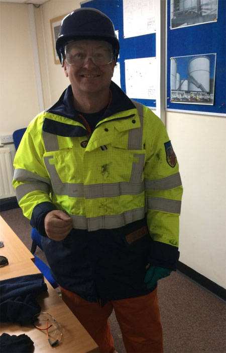 Mark Brindle suitability kitted up with Safety gear at the Plymouth fuel depot