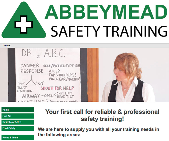 Screenshot of website which links to the Abbeymead Safety training website
