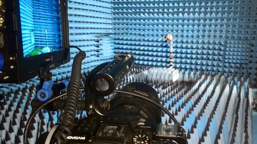 Setting up our interview in the Anechoic chamber