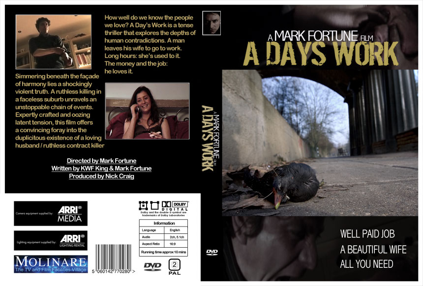 DVD cover design for A Days Work short film by Mark Fortune
