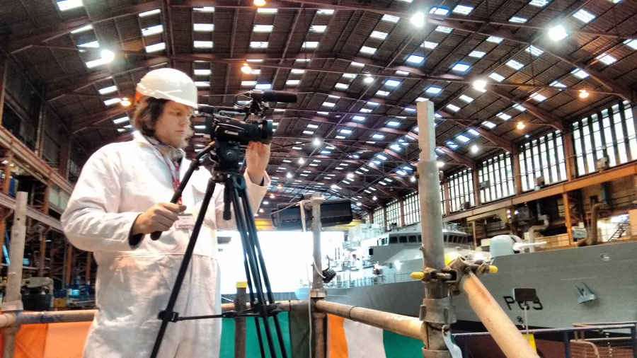 Stu helps to film the launch of Irish Offshore Patrol Vessel
