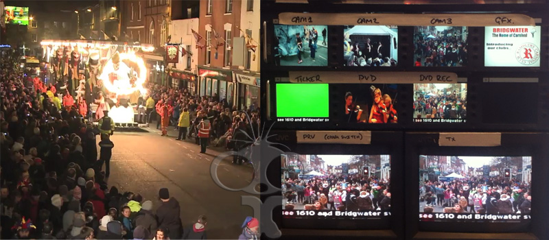 Live filming and vision mixing for Bridgwater Carnival 2012