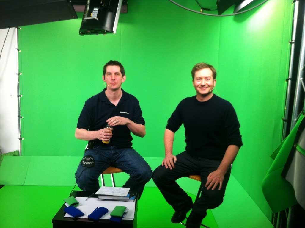 Mark Brindle in the green screen studio with host