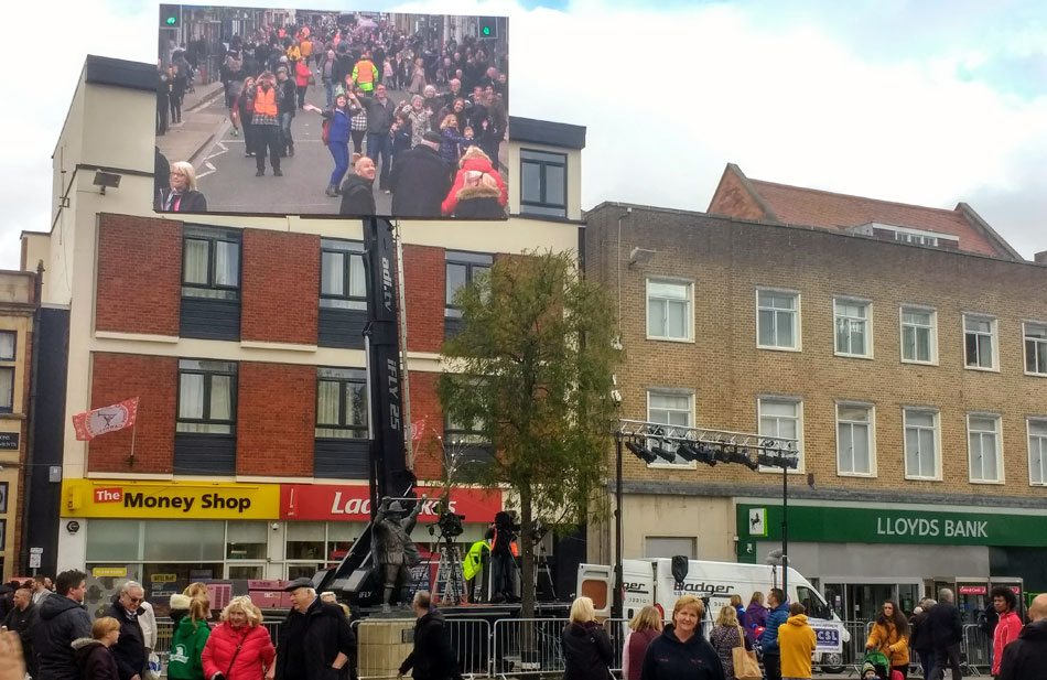 The big screen at Bridgwater Carnival 2018