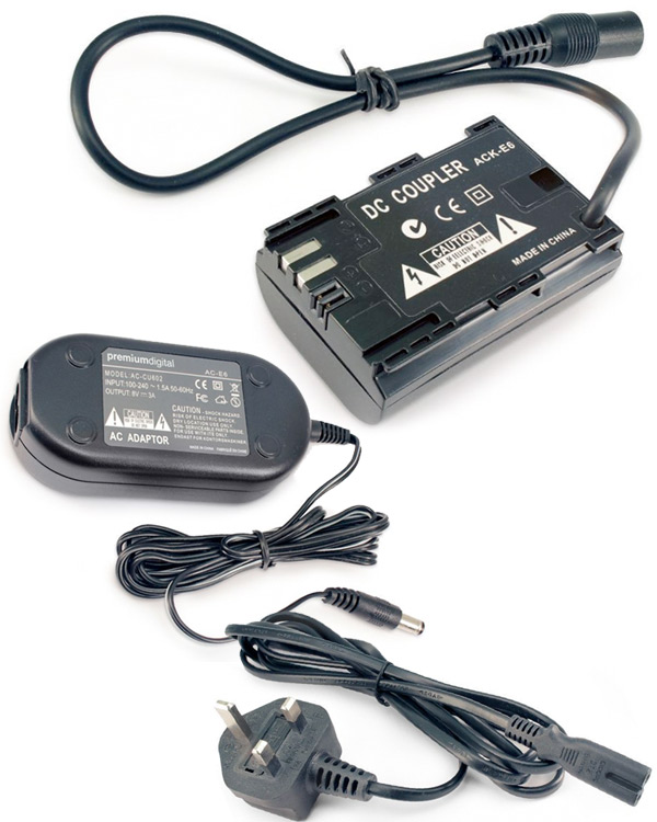 Canon 5D/7D AC power adapter dummy battery