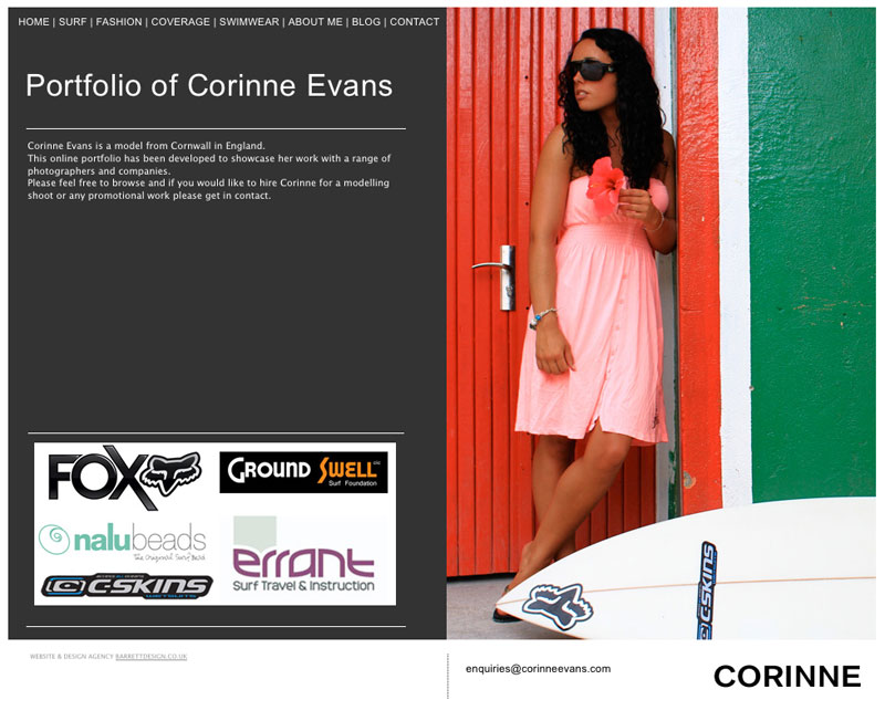 The home page from Corinnes website
