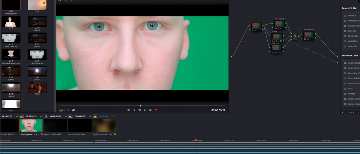Cyborg face on green screen as starting point for the Visual effect