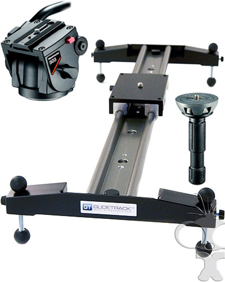 Image of the Glidetrack Hybrid HD Slider Dolly 1m with tripod head