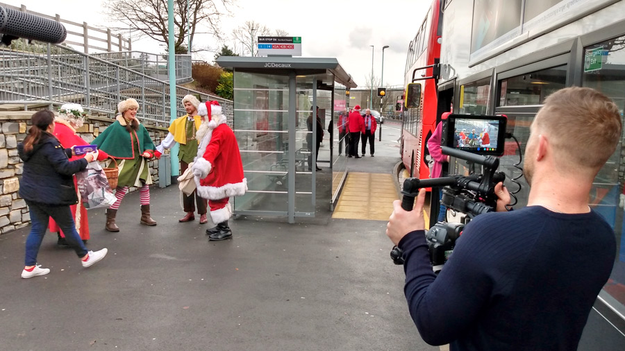 Filming Santa with Global media