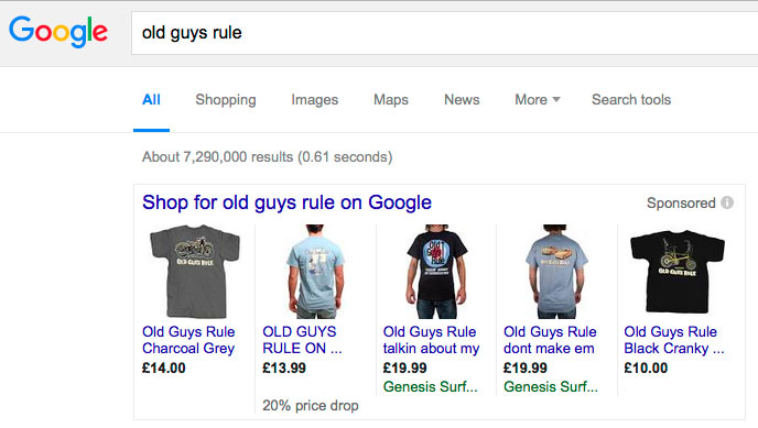 Google shopping sponsored links example for Old Guys Rule branded search