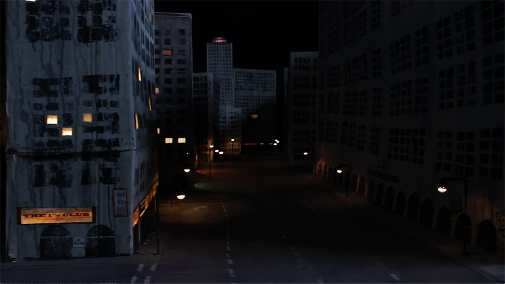 Cityscape scene from the short animation film Homunculous Clockwork AI