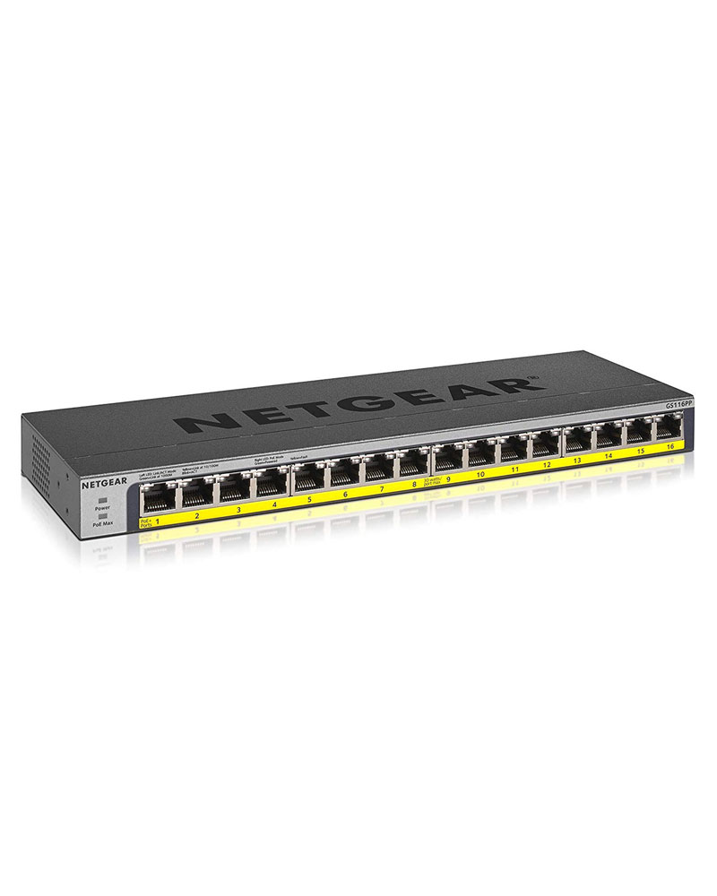 16 Port PoE/PoE+ Gigabit Ethernet Switch 184W POE Budget