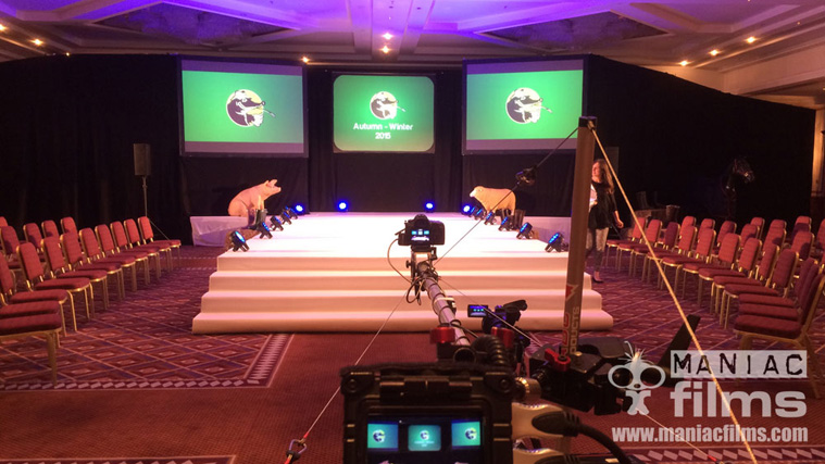 Camera, vision mixer, crane grip crew for Mole Valley Live catwalk show