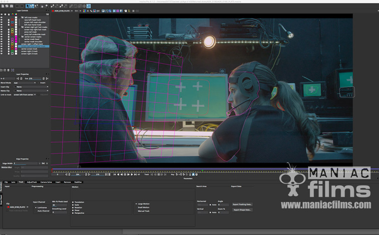 Tracking and masking in Mocha Pro for screen replacements in Independent feature film Age of Kill