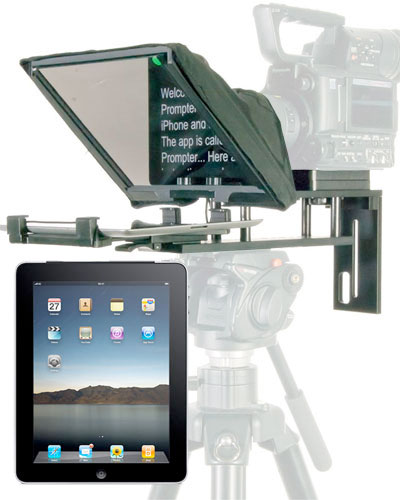 Image of the TP-300 Teleprompter Autocue kit with iPad