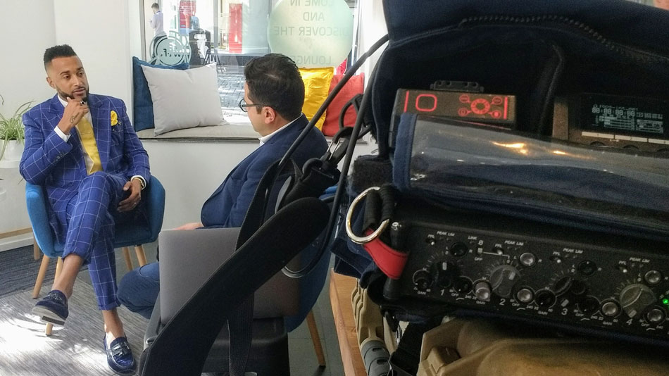 Audio recording on location in London