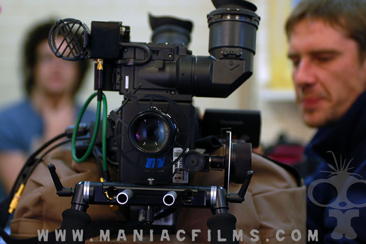 Maniac films camera equipment on set of Peacefire in Northern Ireland
